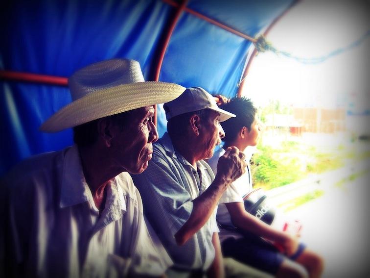 Inside a colectivo in Puerto Escondido