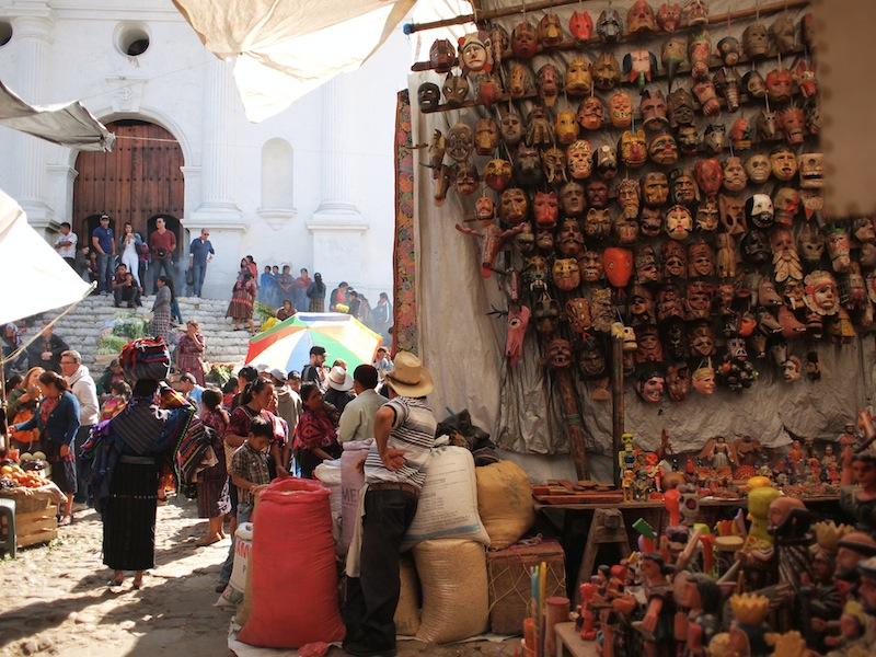 Masks and Santo Tomás church Chichicastenango Sunday Market