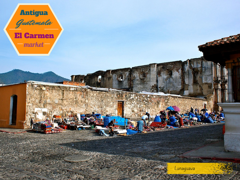 Antigua Guatemala Carmen market postcard
